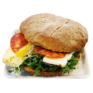 Sunn Burger m/tomat pesto & brie/chorizo